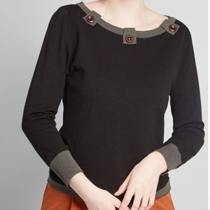 Banned Apparel Black Top with Button Detail